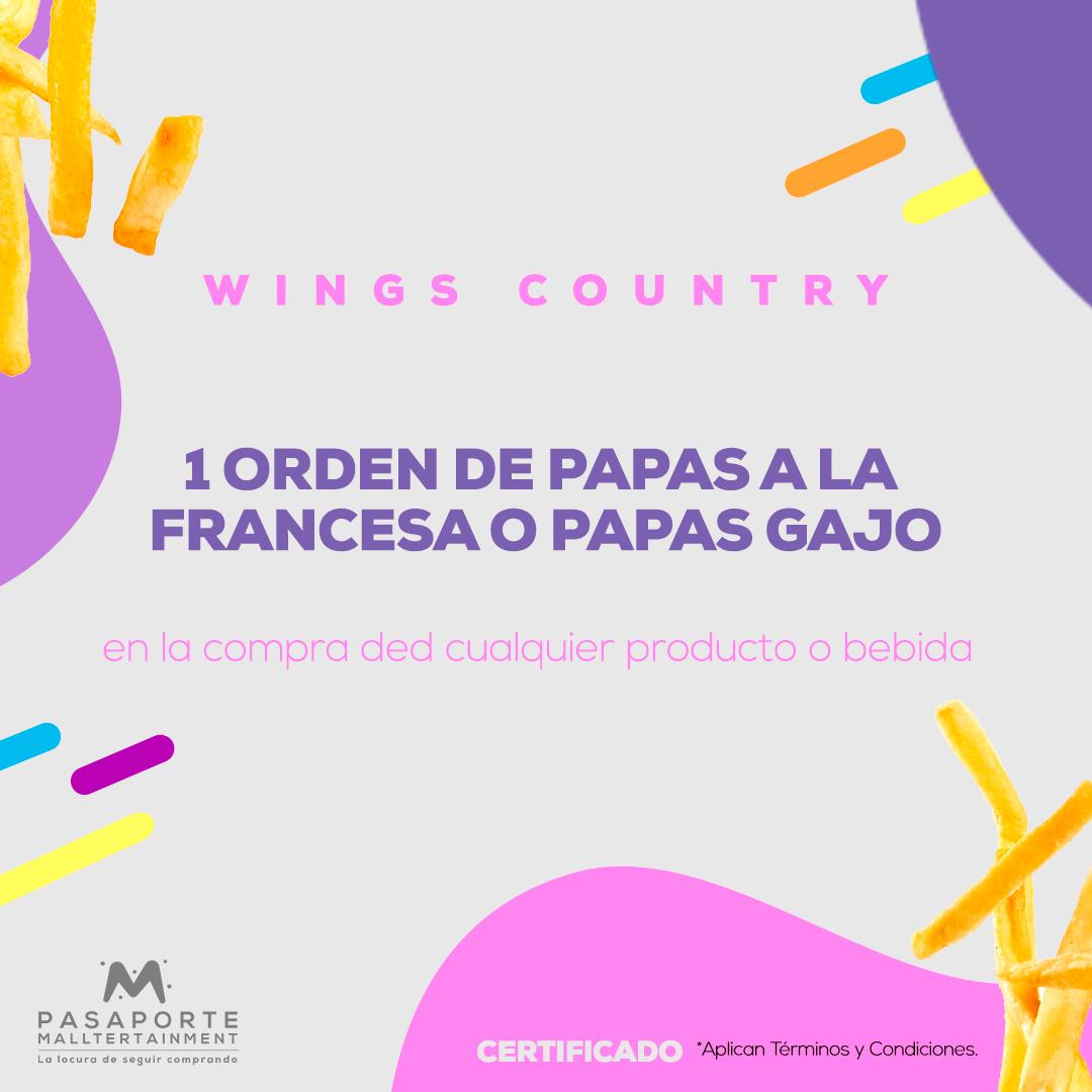 Certificado por 1 orden de papas a la francesa o paas gajo Gratis en la compra de cualquier producto o bebida